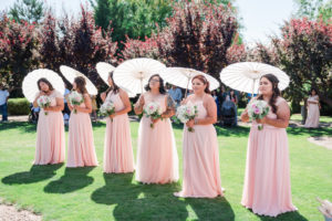 Romantic Garden Wedding, plus size bride, blush bridesmaid dresses