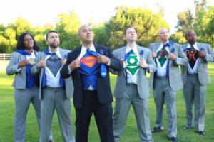 groom with superman tshirt and his groomsmen