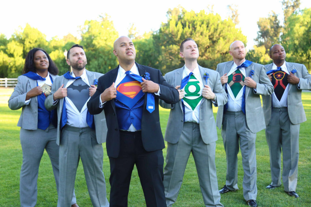 groom with superman tshirt and his groomsmen