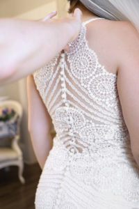 plus size bride with lace wedding gown