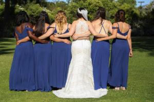 plus size bride with bridal party