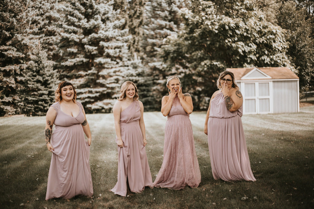 bridal party, blush bridesmaid gowns