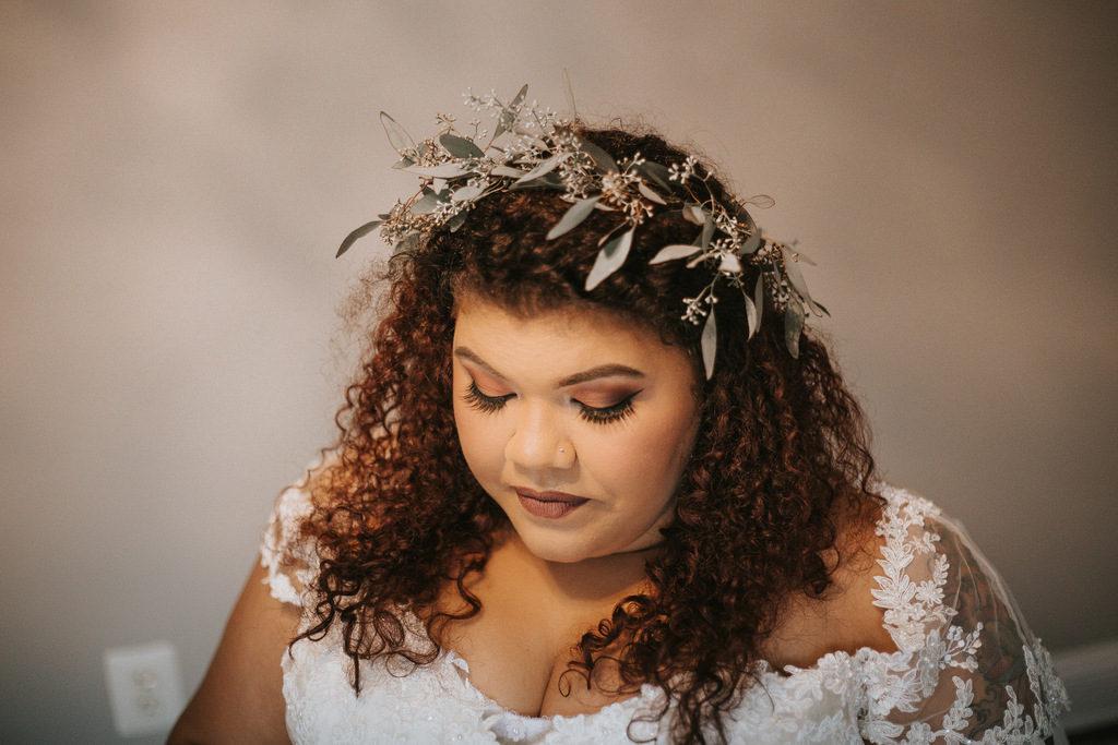 plus size bride, flower crown, floral crown, plus size wedding gown