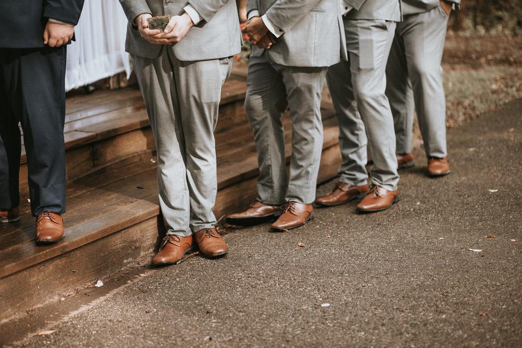 groomsmen, gray suits, men's brown wedding shoes