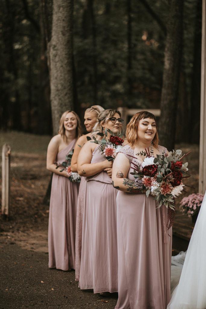 blush bridesmaid dresses, wedding bouquet