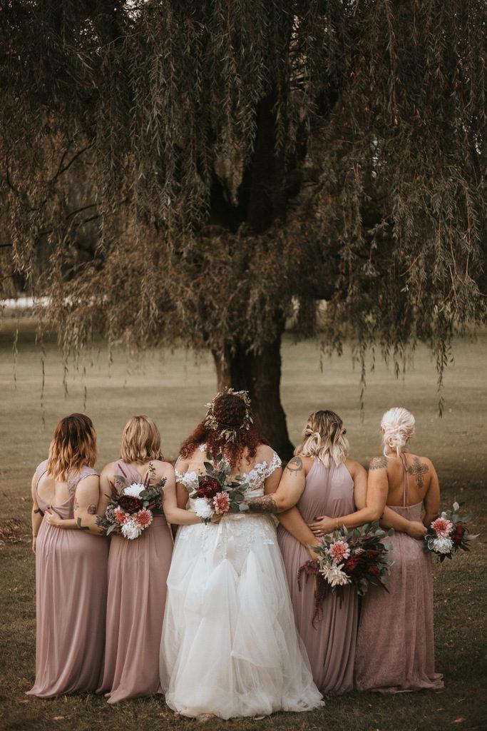 bridal party, blush bridesmaid dresses, plus size bride, plus size wedding gown
