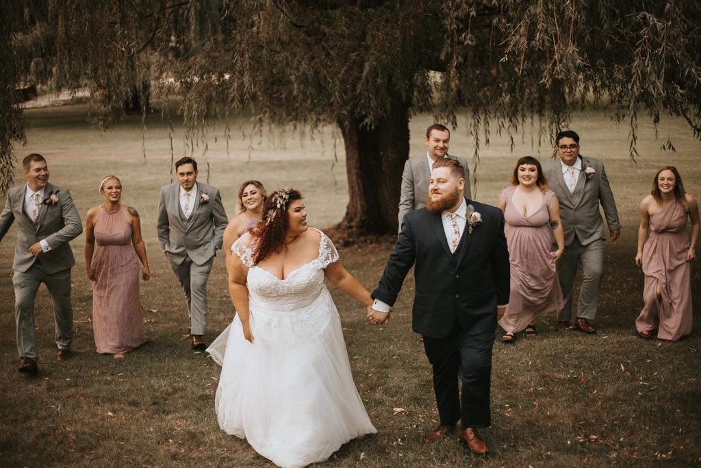 plus size bride, plus size wedding gown, plus size groom, bridal party