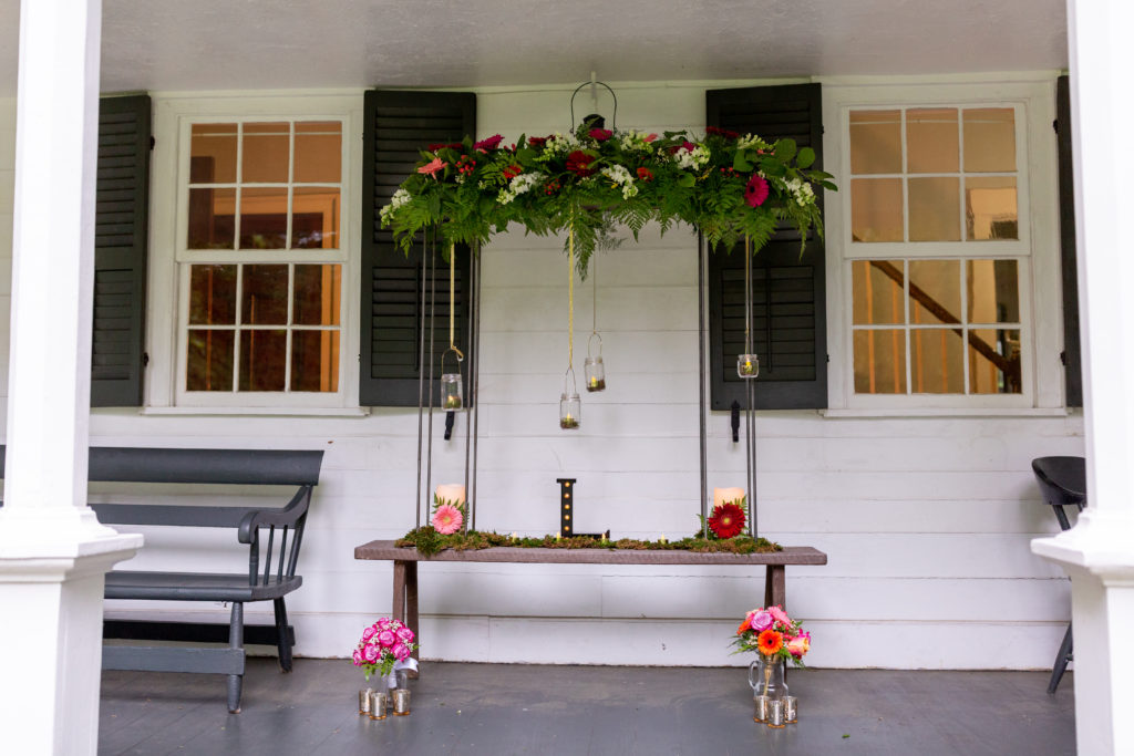 country porch with wedding decor
