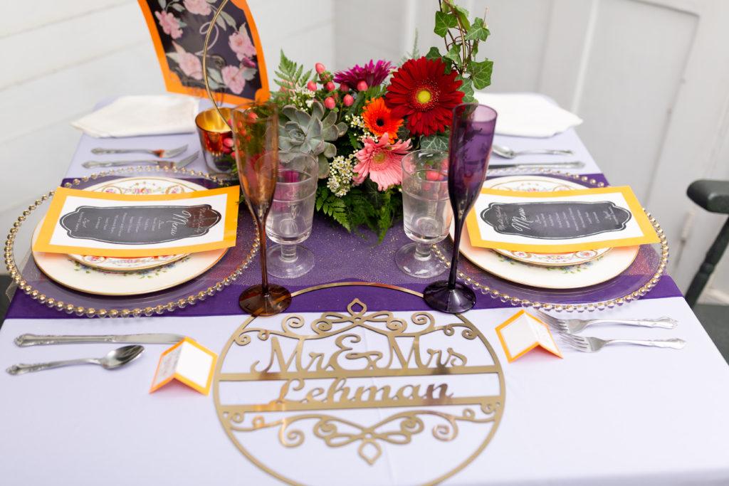 purple, gold and orange tablescape
