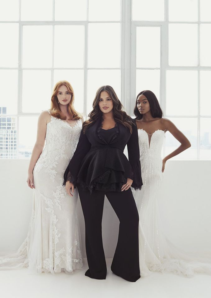 pronovias, ashley graham, plus size bride, plus size wedding gown, plus wedding dress