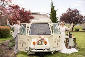 plus size bride, plus size wedding gown, plus size wedding, groom, beer truck