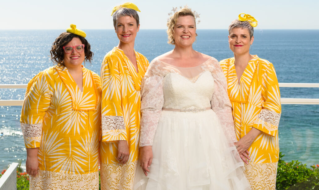 plus size bride, plus size wedding dress, beach wedding, astral queen crown, yellow bridesmaid tunics