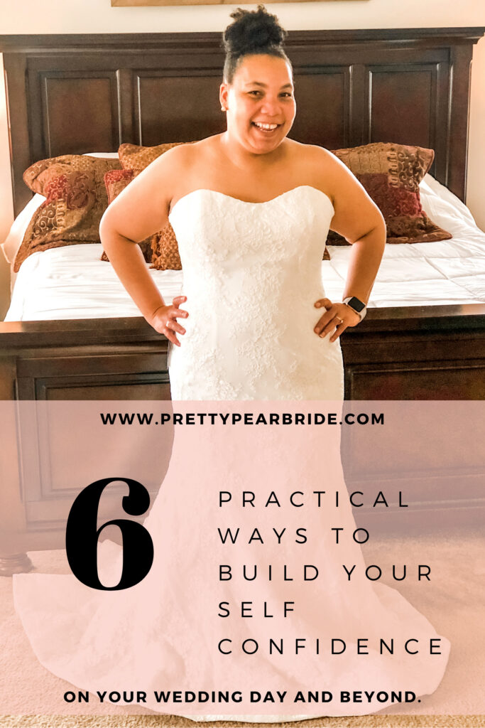 plus size bride in a form fitting lace dress talking about 6 practical ways to build self confidence for your wedding day.